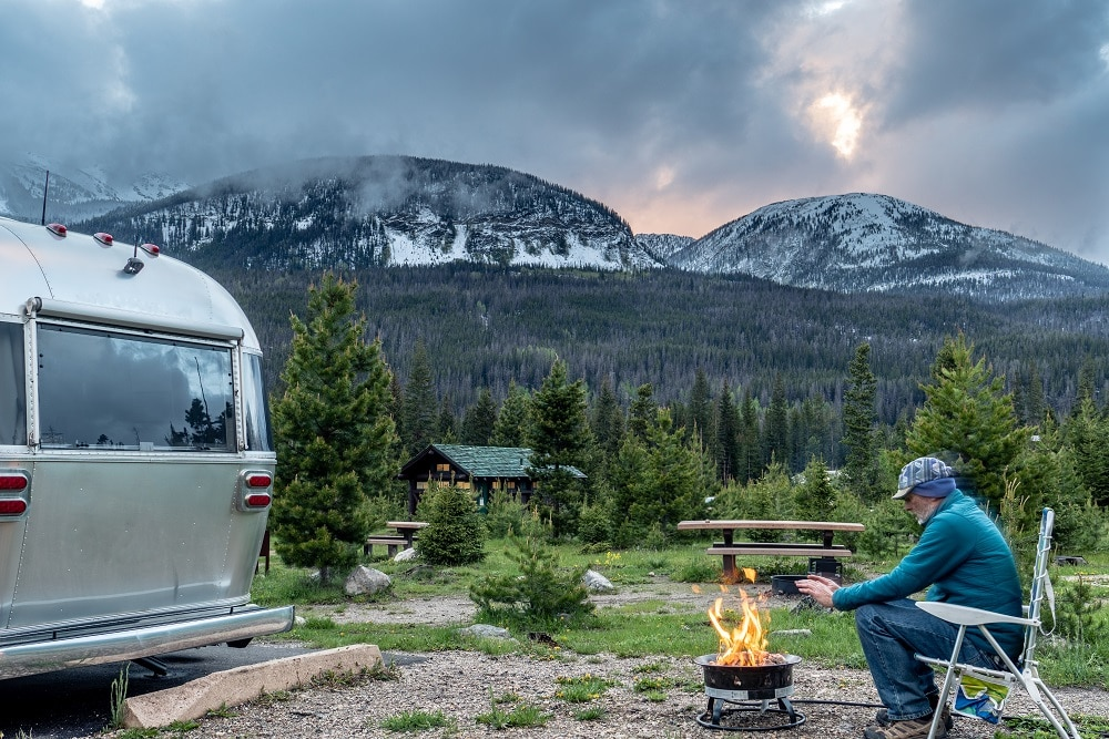 RV Camping with fire